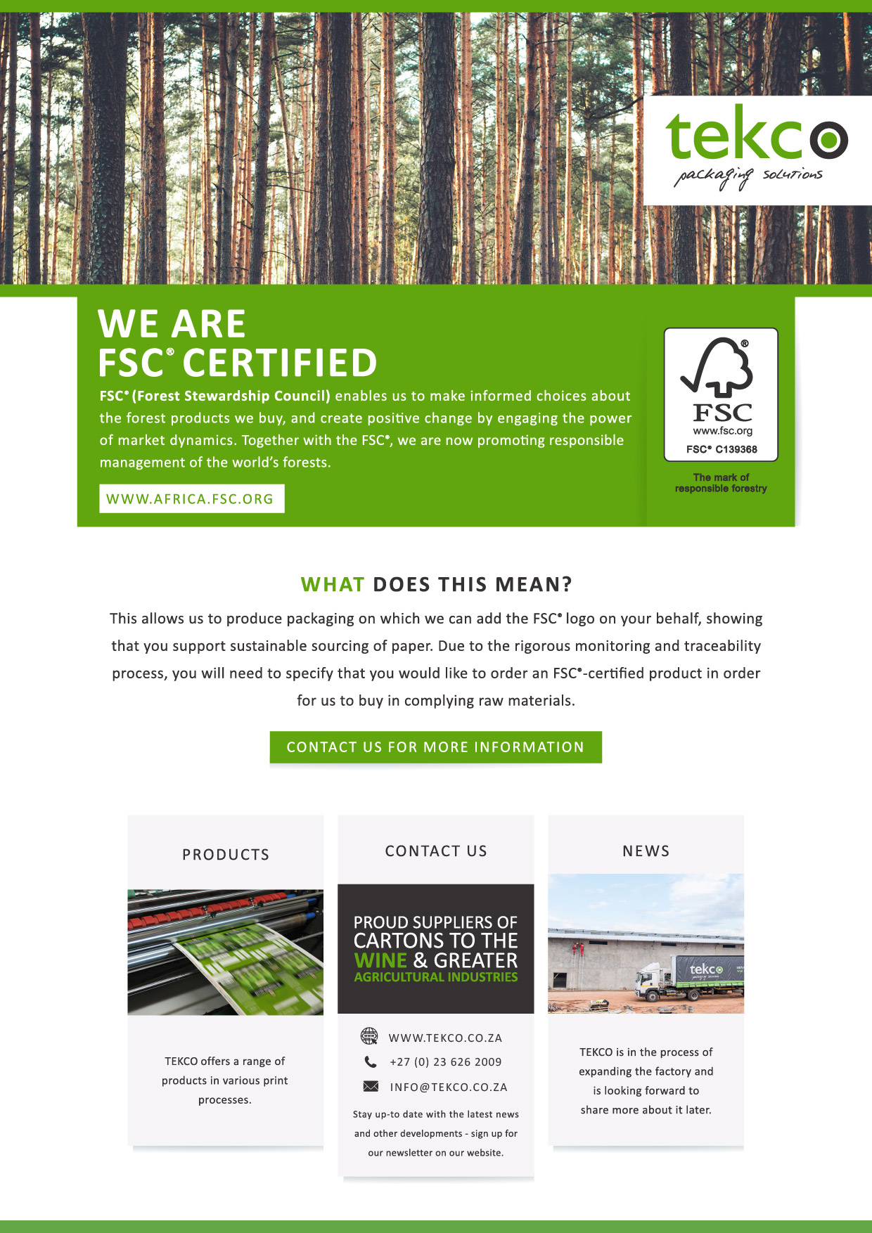 TEKCO NEWSLETTER FSC-01